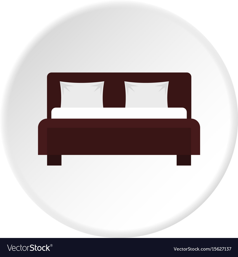 Double bed icon circle vector image