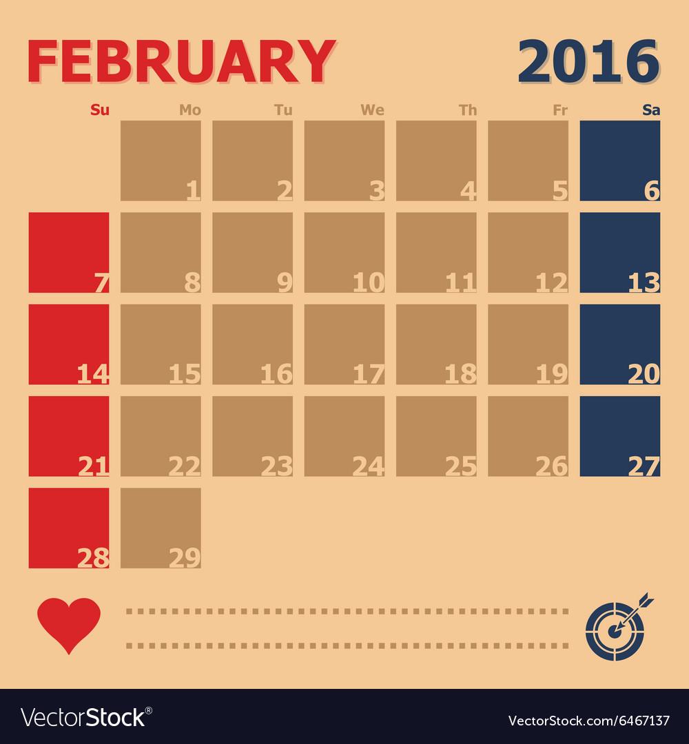 February 2016 monthly calendar template