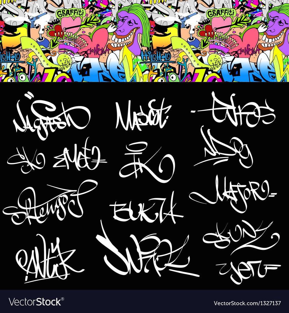 Graffiti font tags urban set
