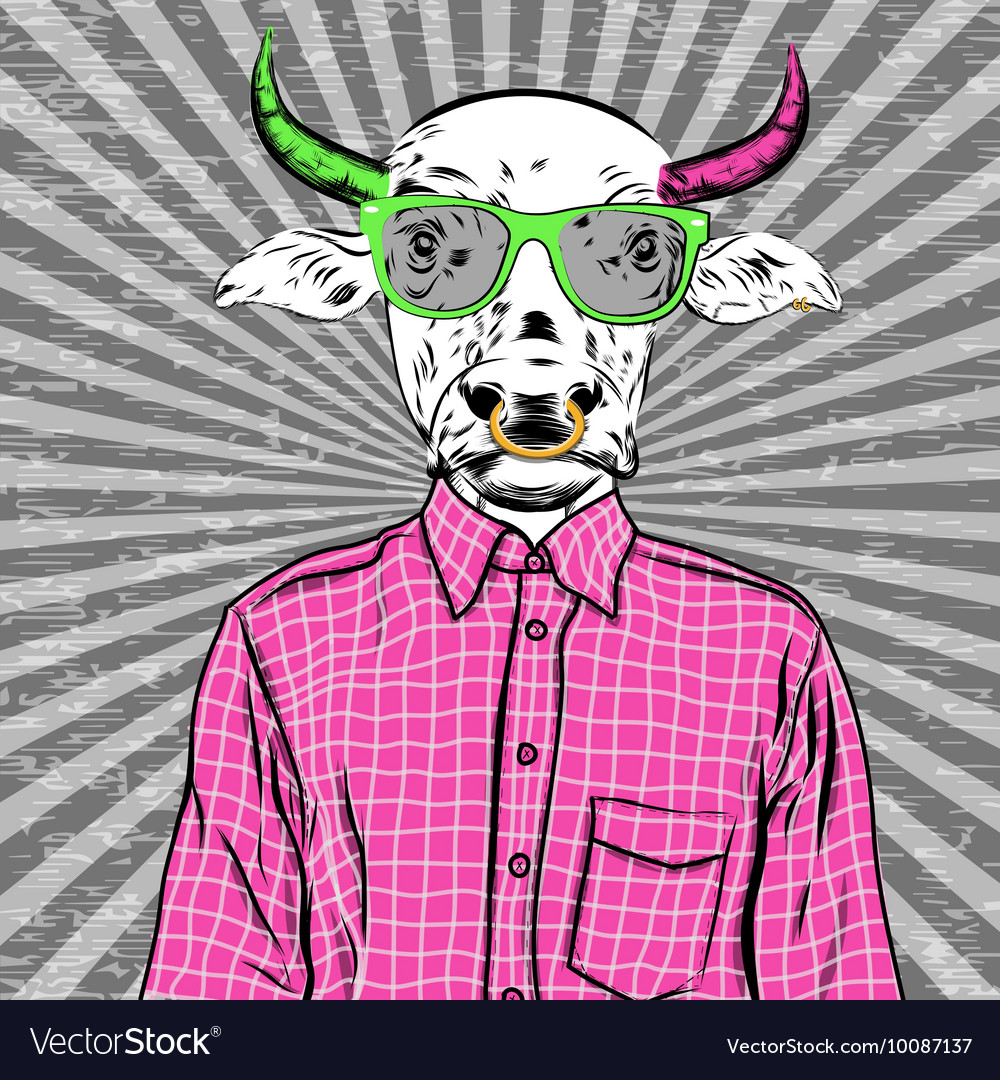 Hand Drawn Fashion of dressed up bull