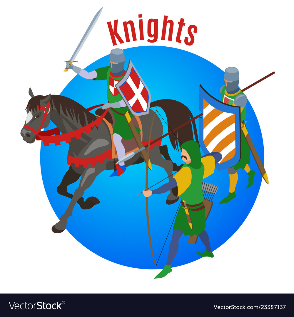 Medieval knights circle background