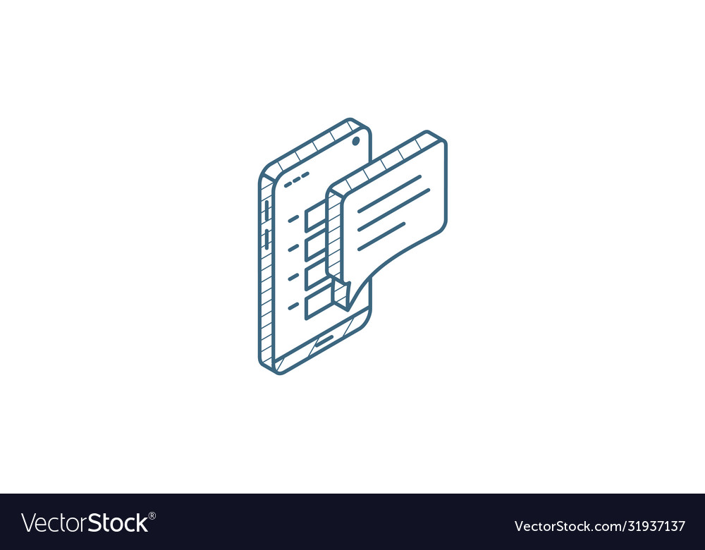 Message on smartphone mobile phone isometric icon