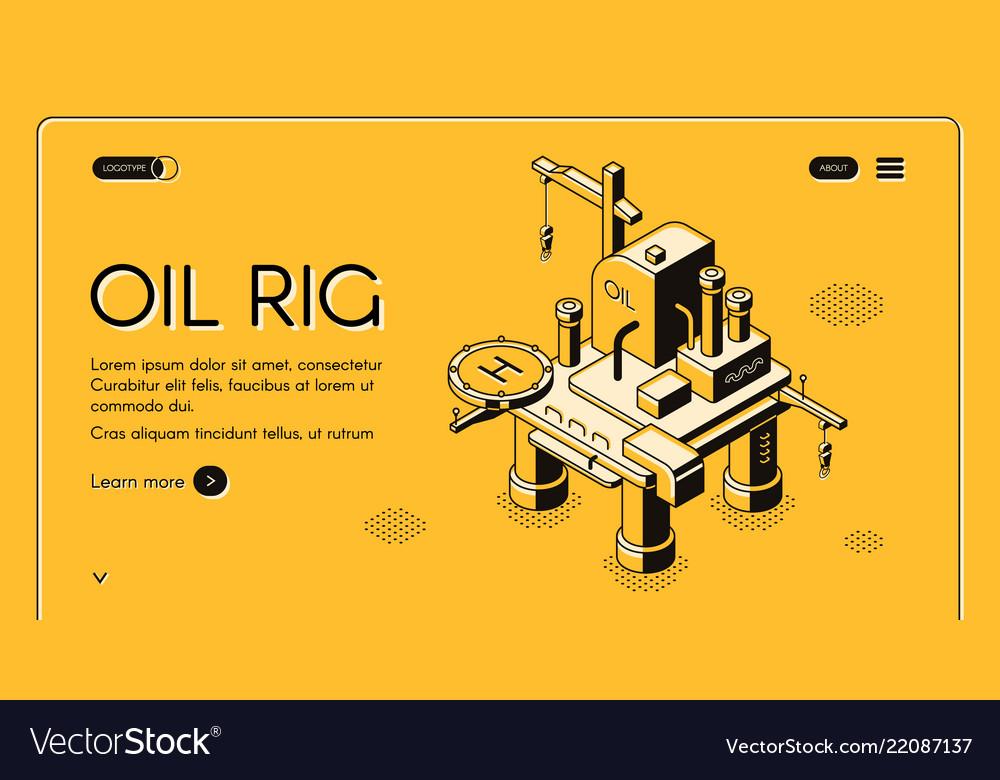 Oil rig offshore platform isometric