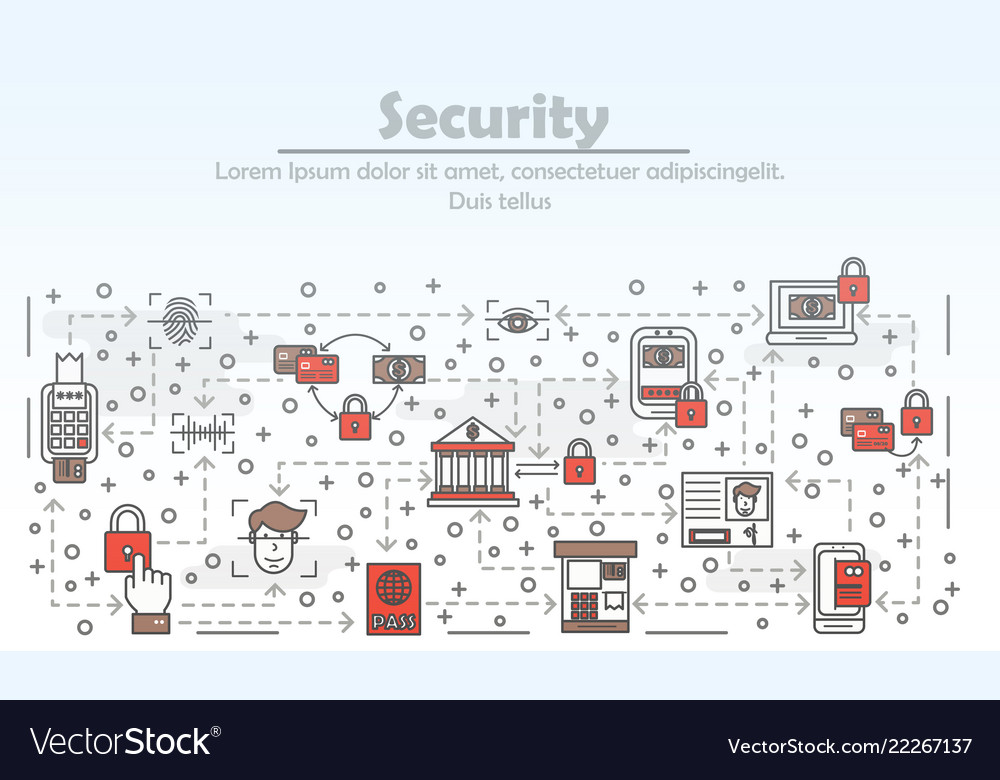 Thin line security poster banner template