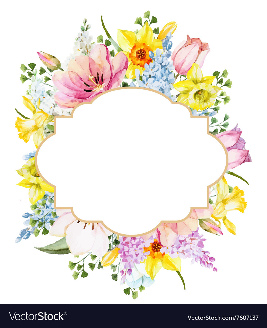 watercolor spring floral frame royalty free vector image