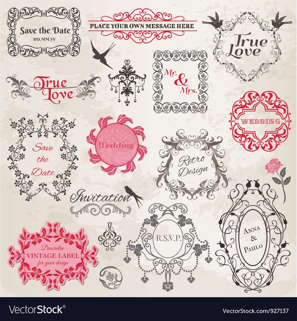 Wedding vintage frames and design elements vector image junglespirit Images