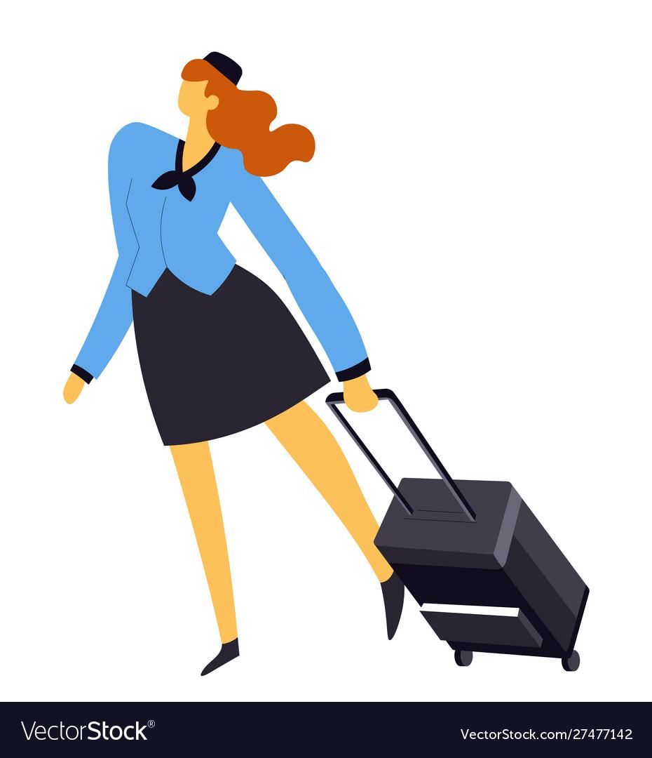 Air hostess or stewardess flight attendant in