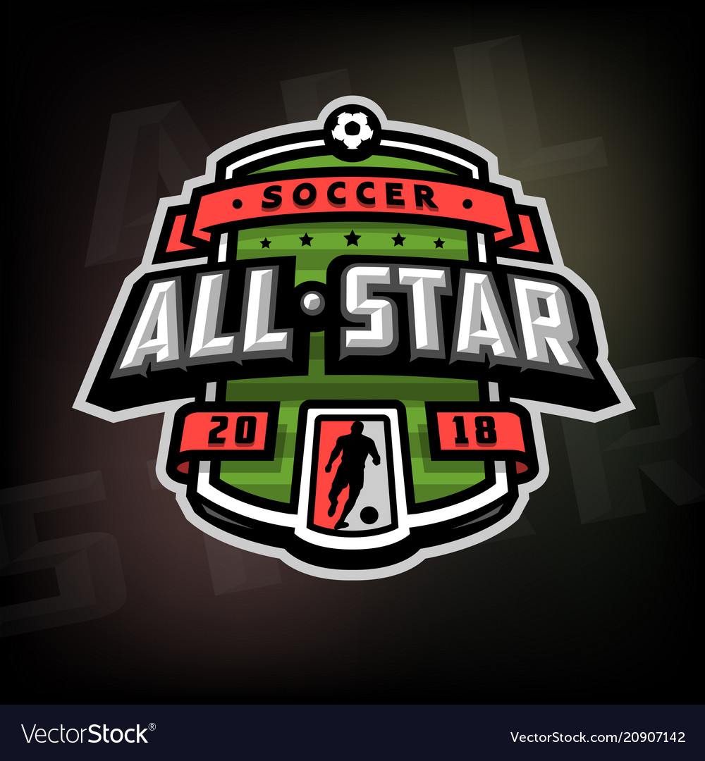 All stars of soccer logo emblem