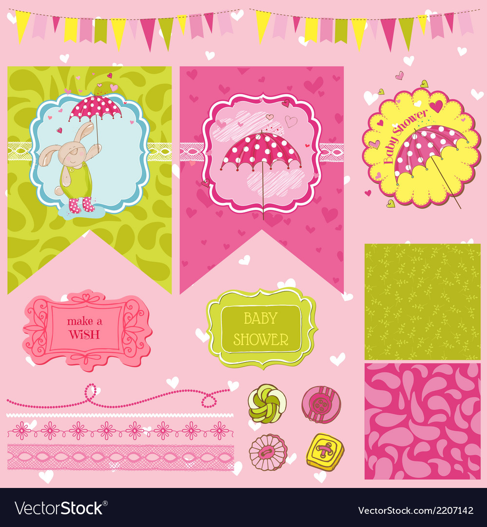 Baby Bunny Shower Theme vector image