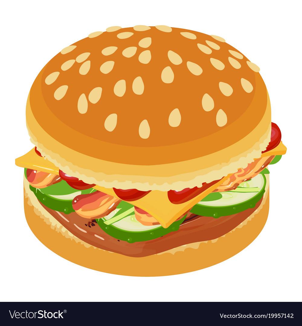 Burger icon isometric style