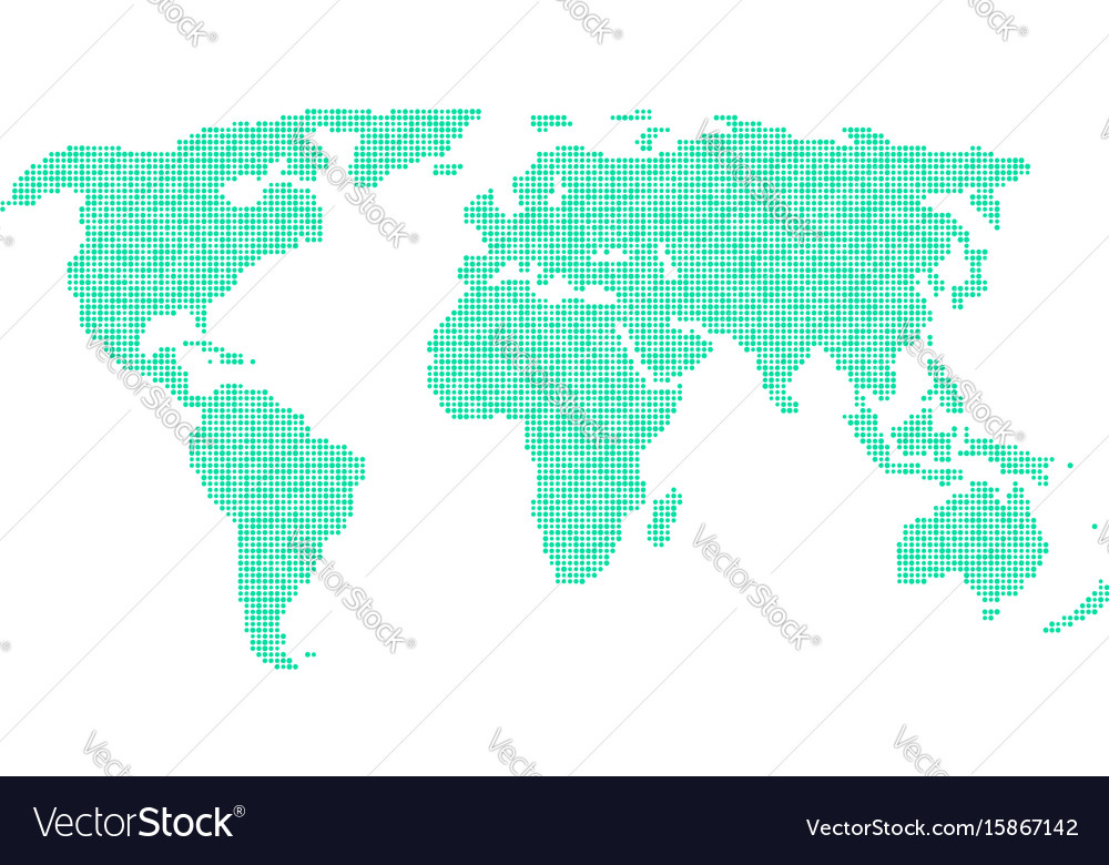 Green world map from different points