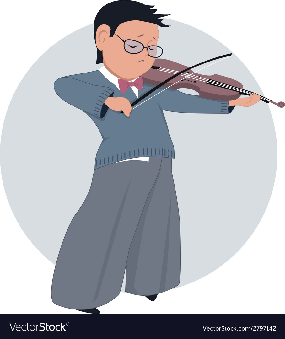 Little boy playing violin vector image