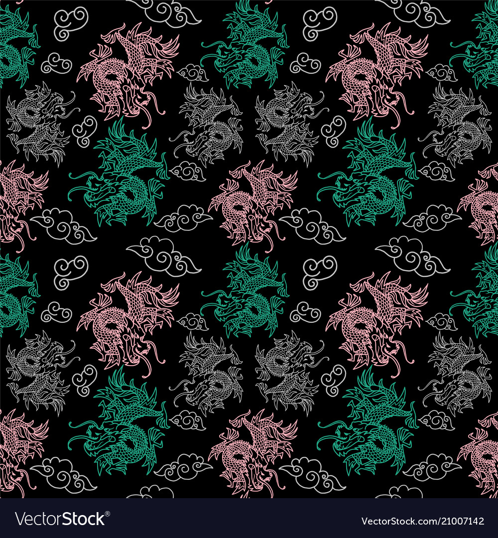 Pattern with japan dragons