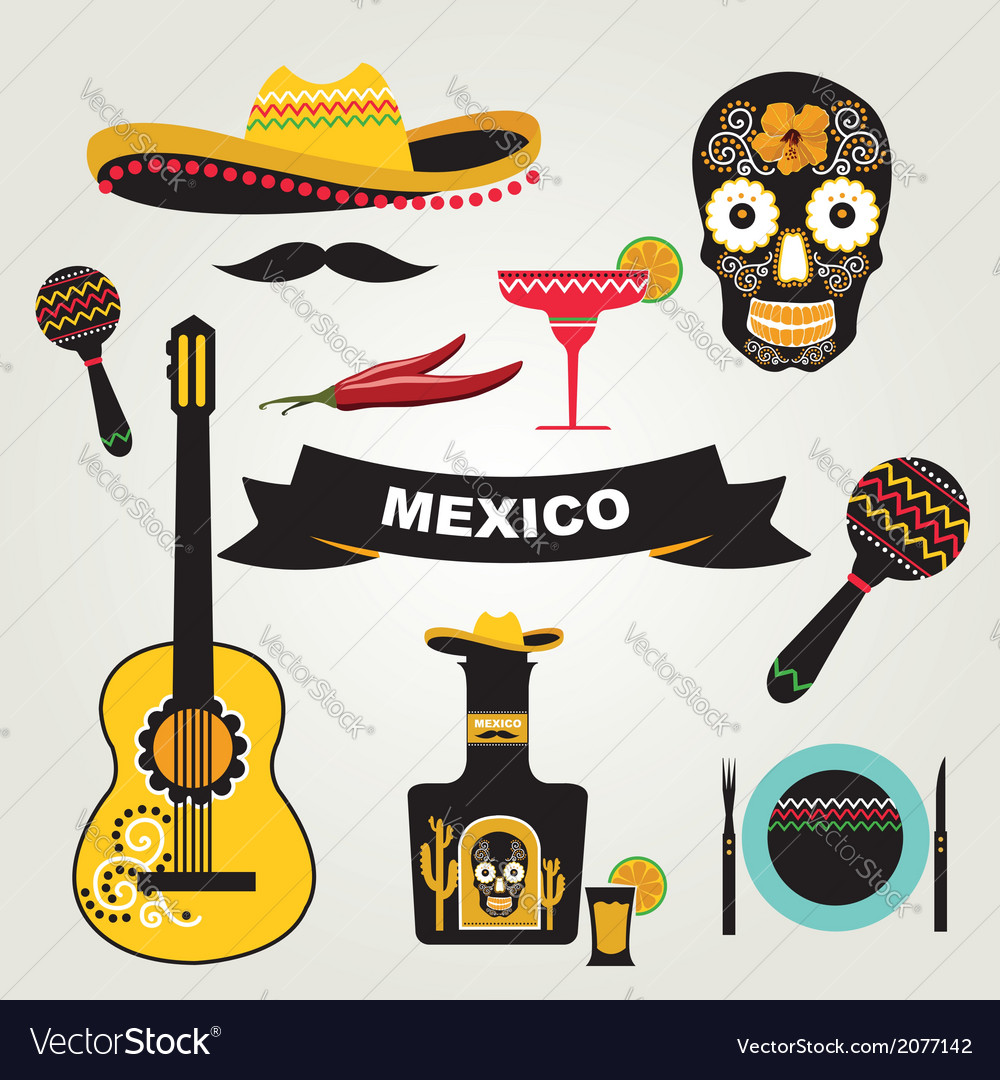 Set of mexican icons