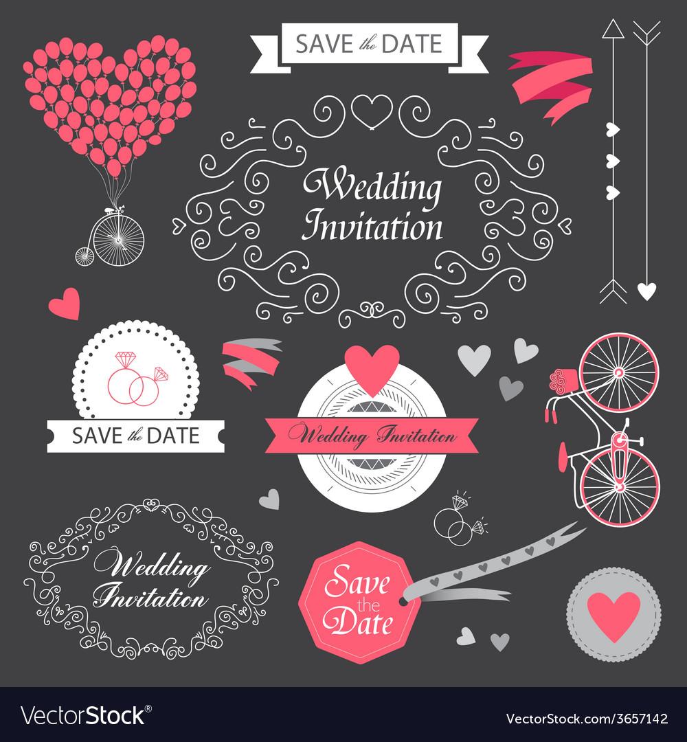 Set wedding vintage hand drawn invitation