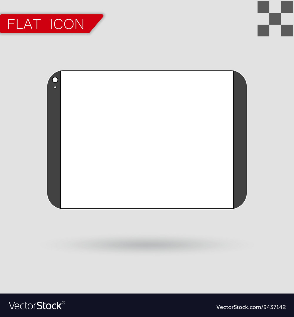 Tablet computer Flat Style with red