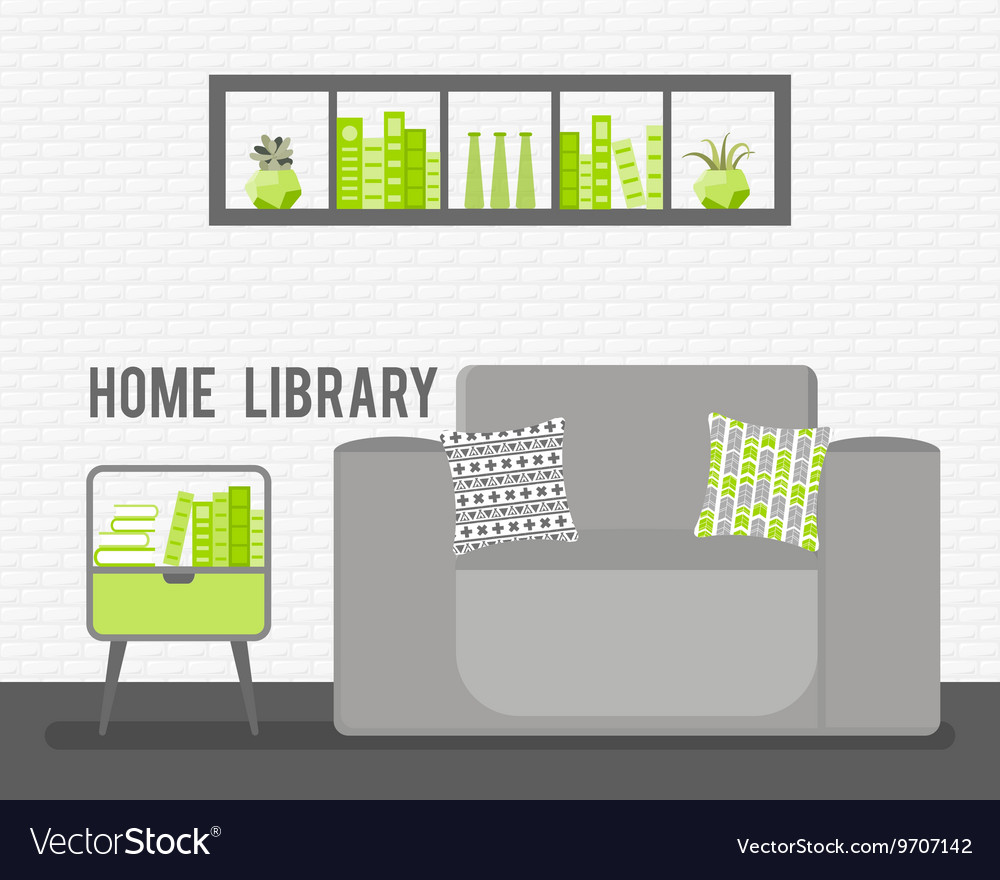 With Armchair Luminaire Lamp Vector Image
