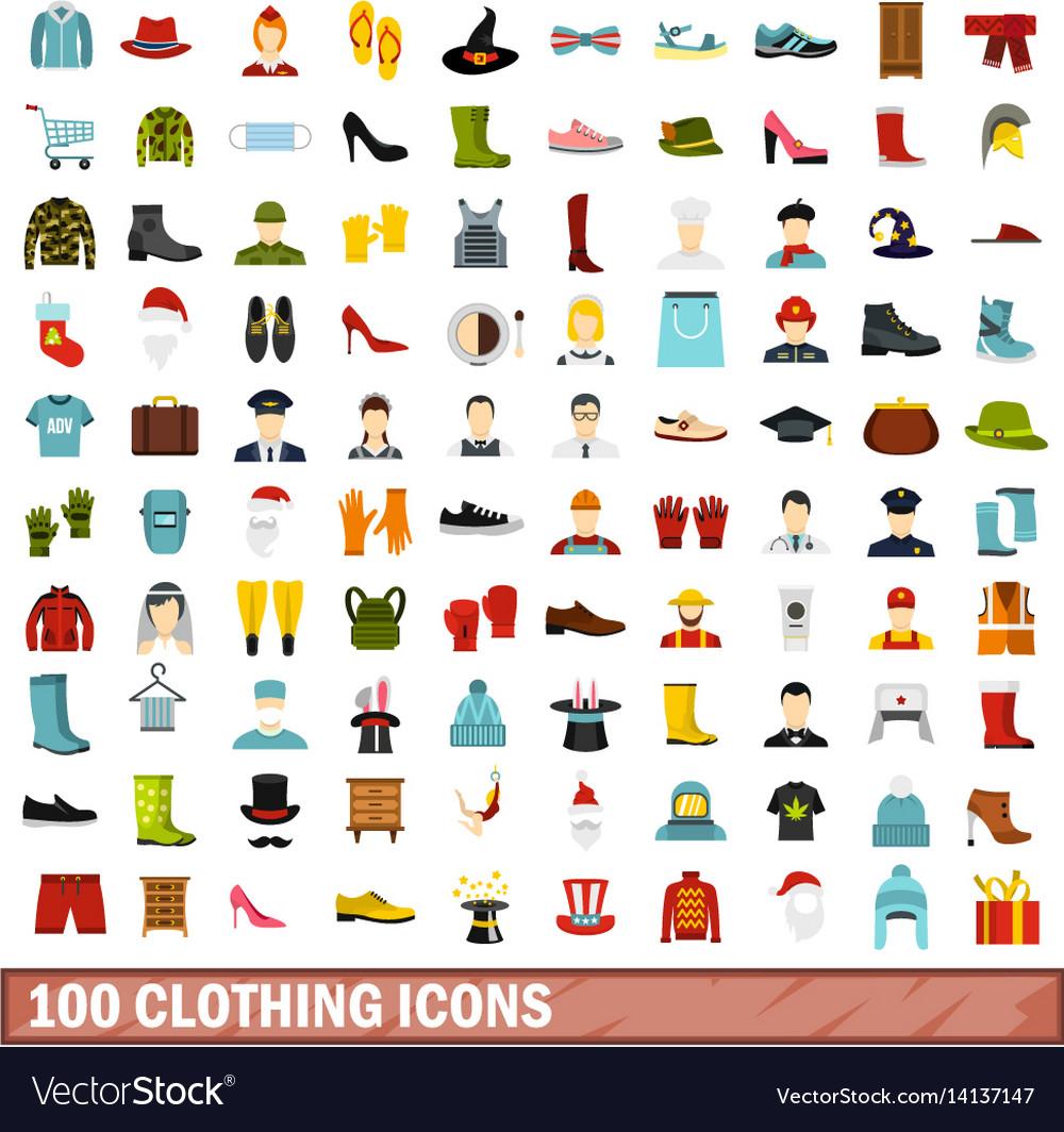 100 clothing icons set flat style