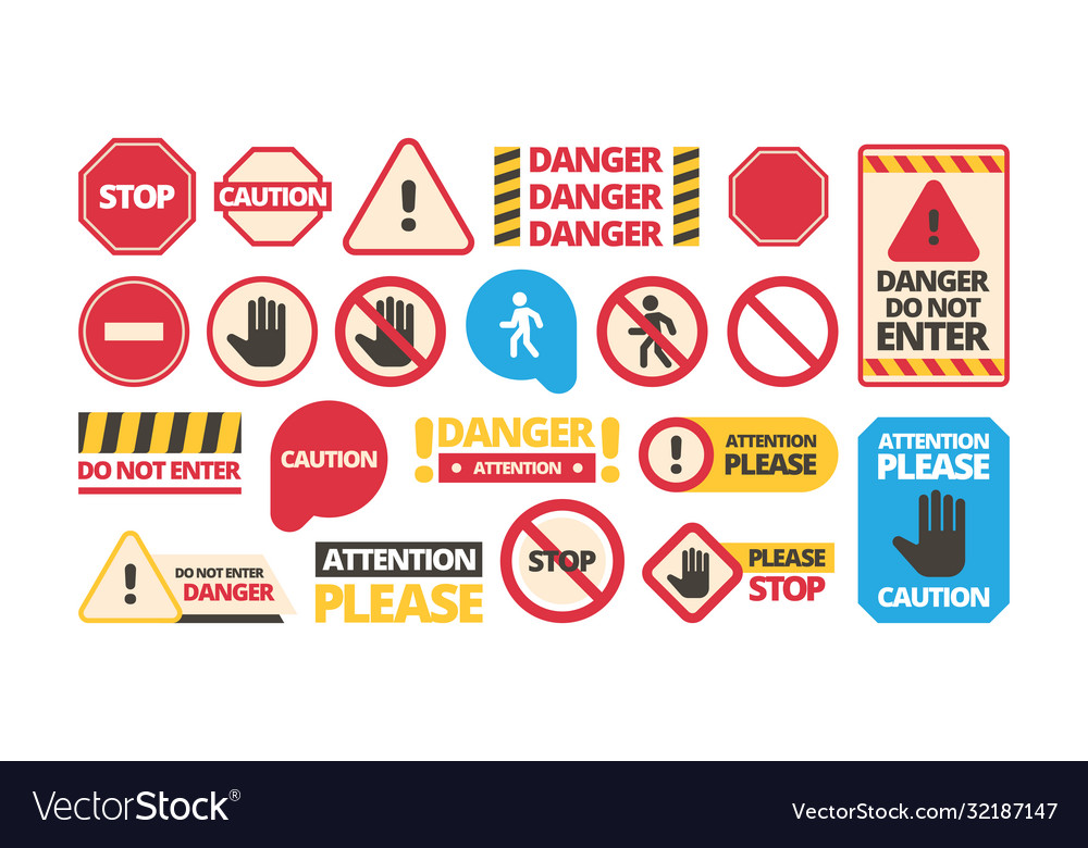 Attention boards admittance symbols stop hand red