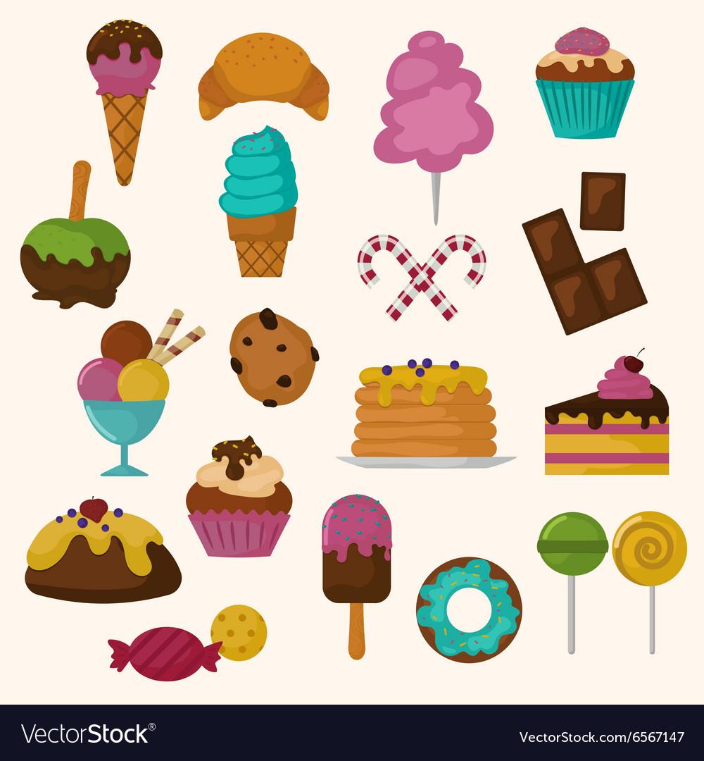 Cakes icons set on white background