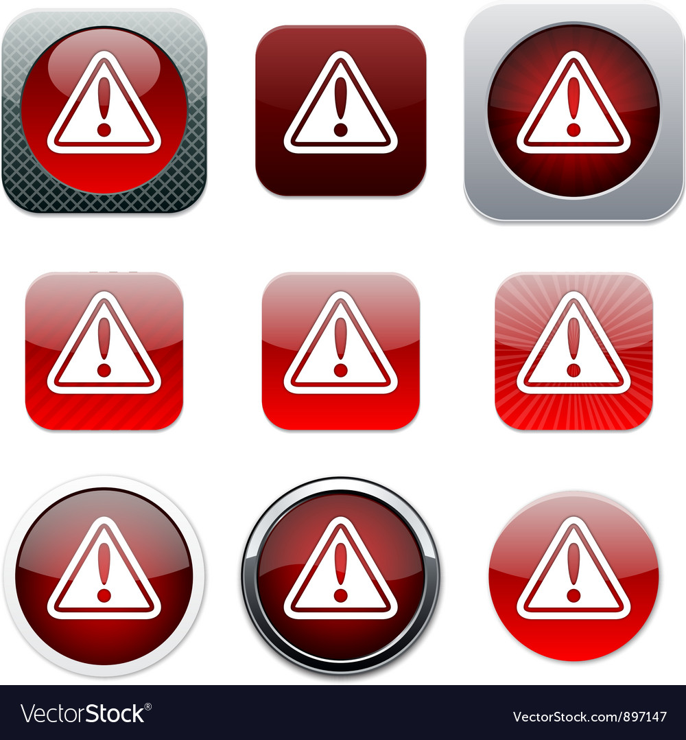 Exclamation sign red app icons vector image