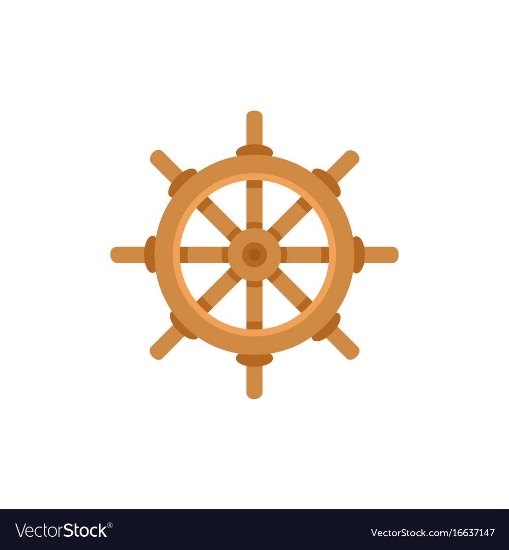 Flat cartoon ship sailboat steering wheel