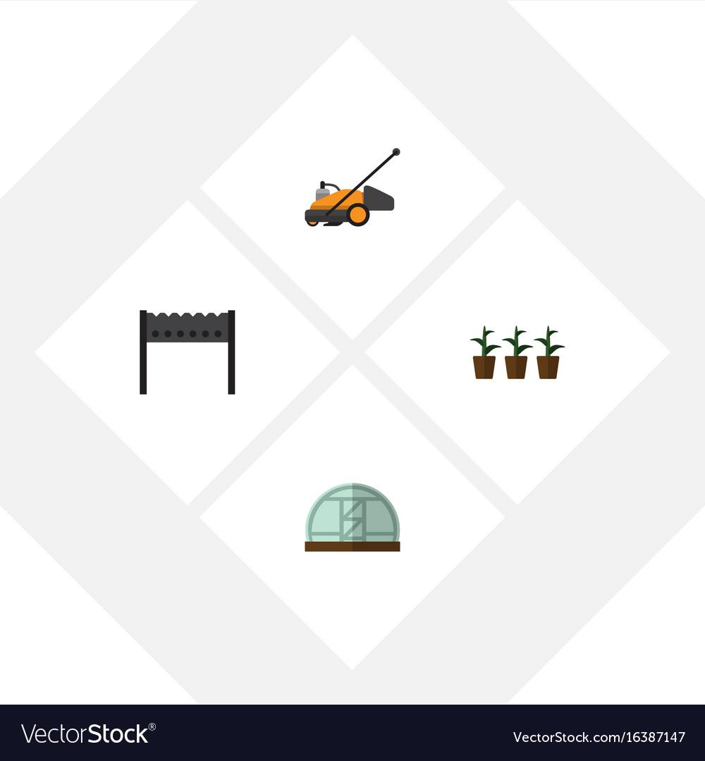 Flat icon dacha set of flowerpot lawn mower