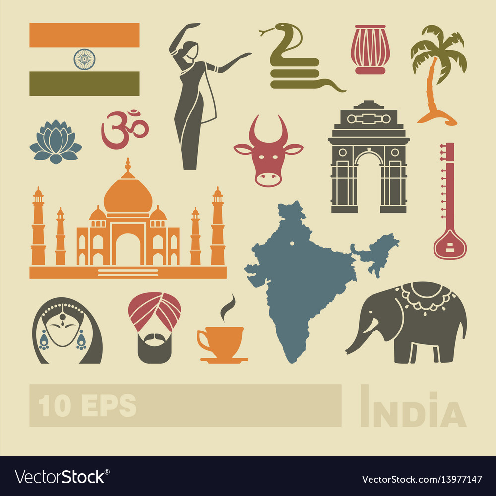Flat icons of india