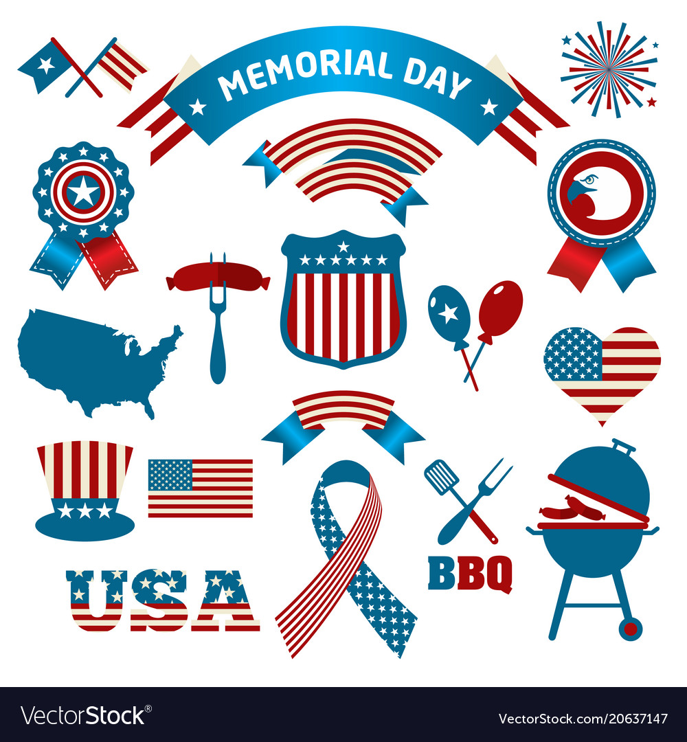 Fourth of july party and memorial day icons vector image