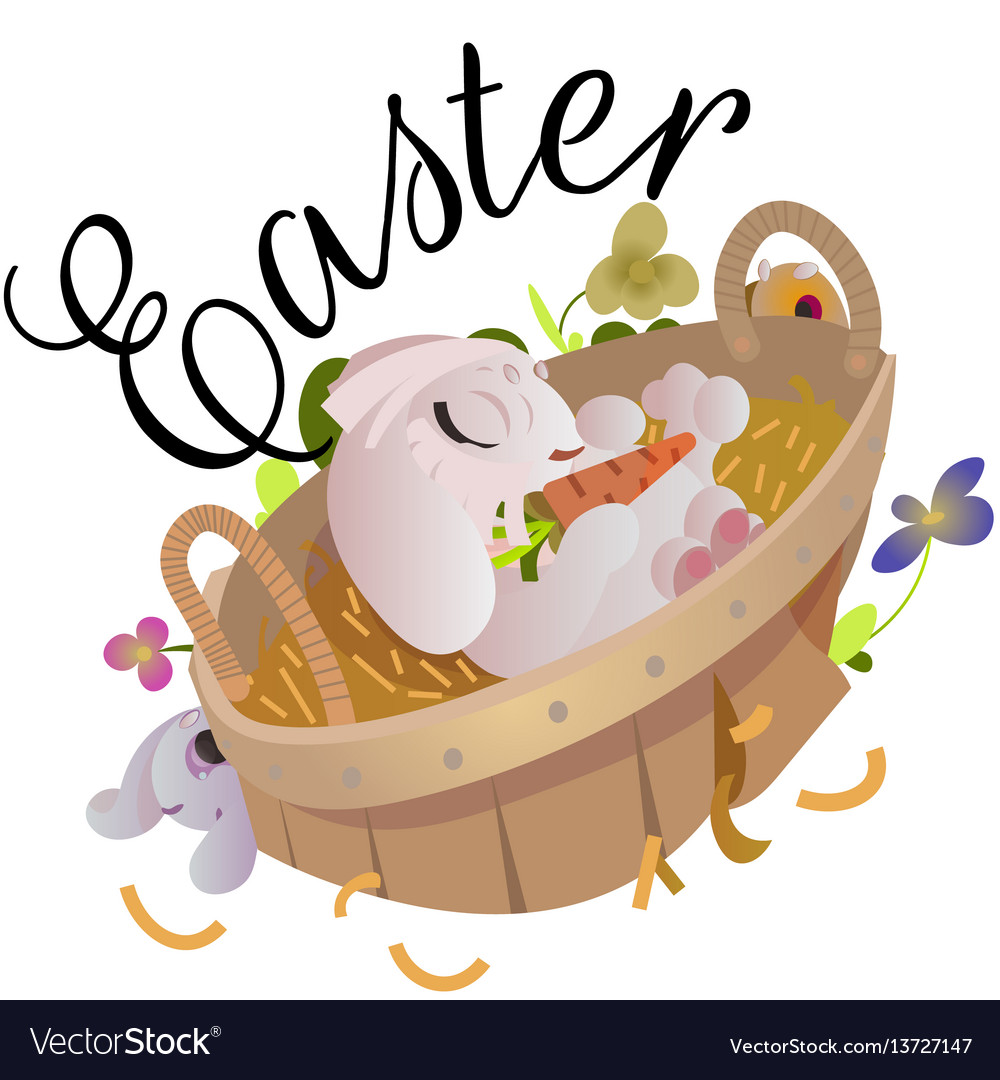 Happy and cute easter bunny sitting in basket
