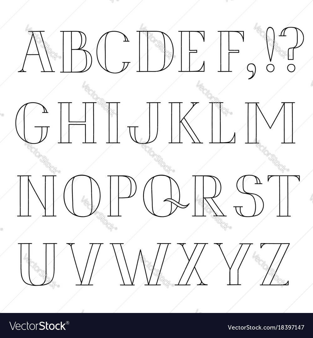 Latin alphabet grunge line font hipsters character