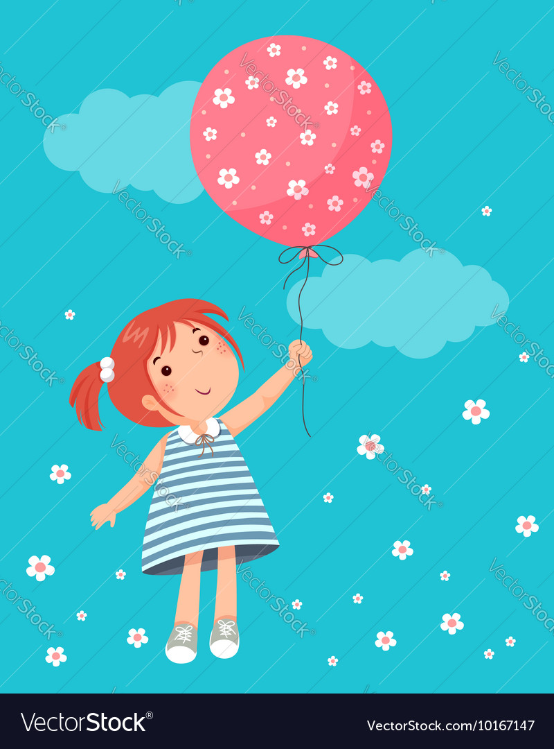 Little girl holding balloon
