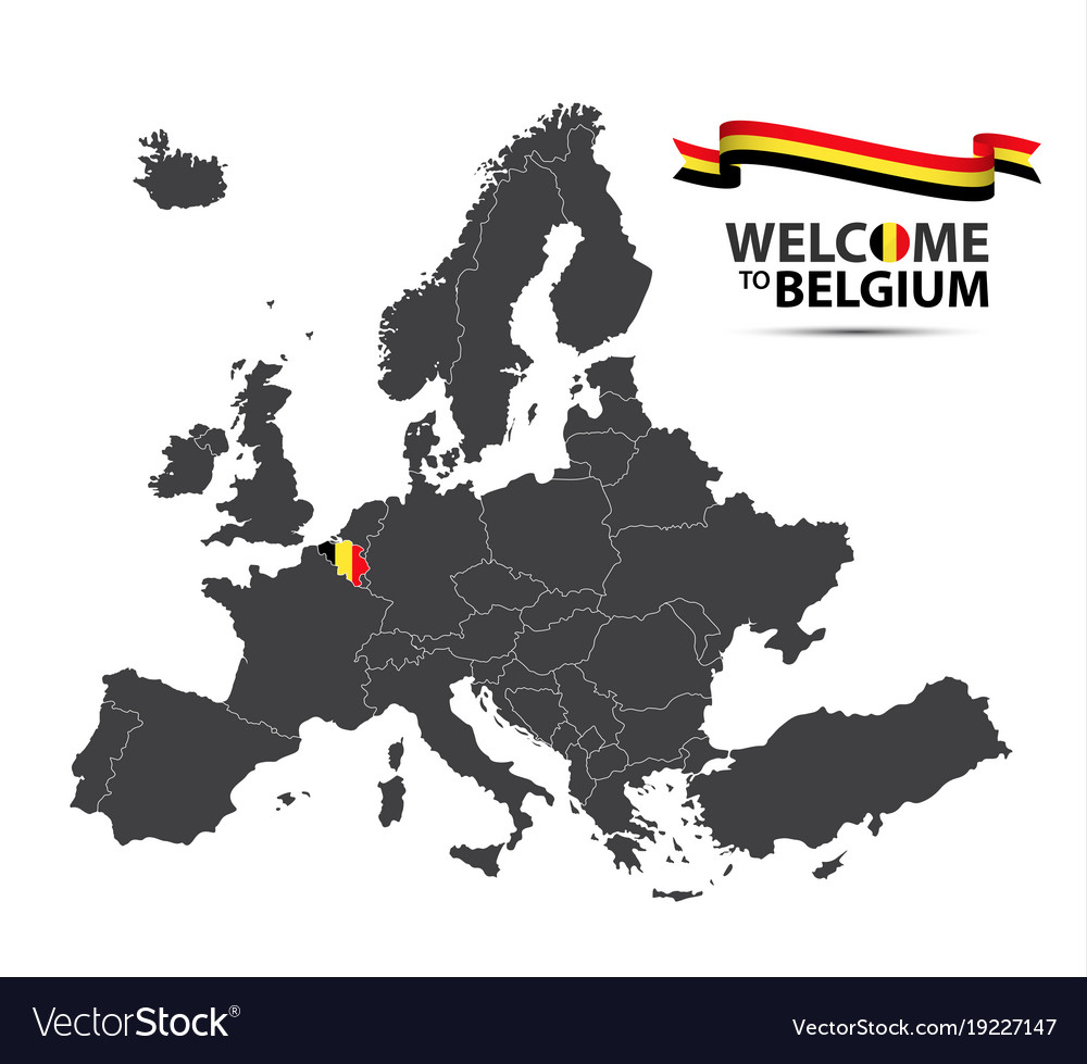 Map of europe with the state of belgium
