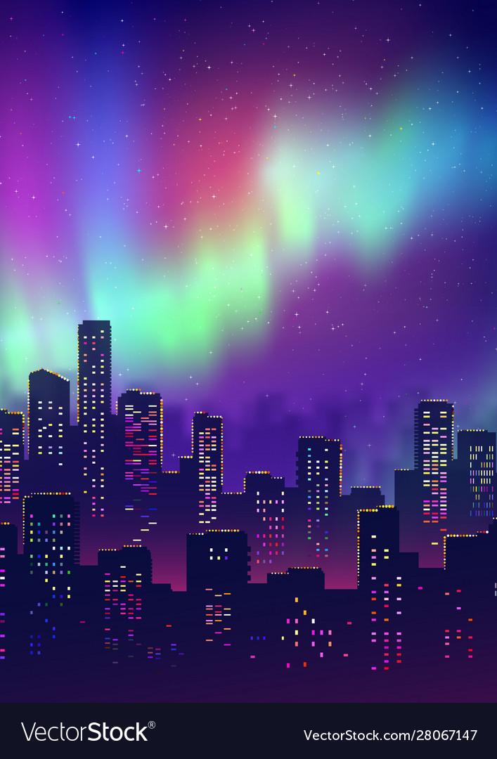 Night cityscape christmas postcard