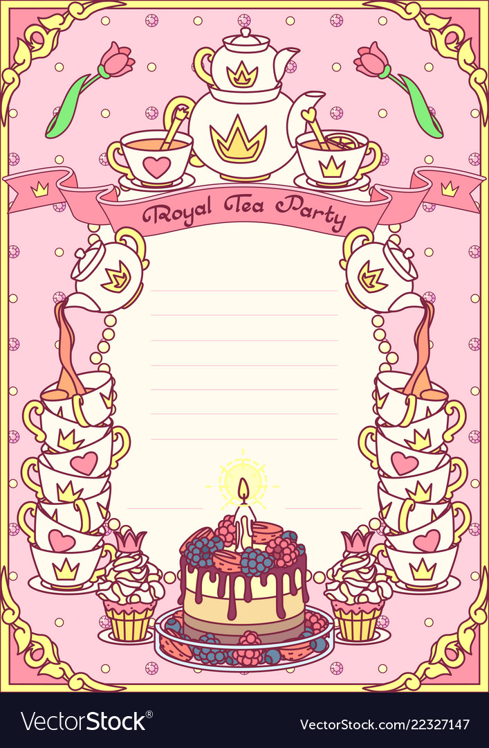 royal tea party template royalty free vector image
