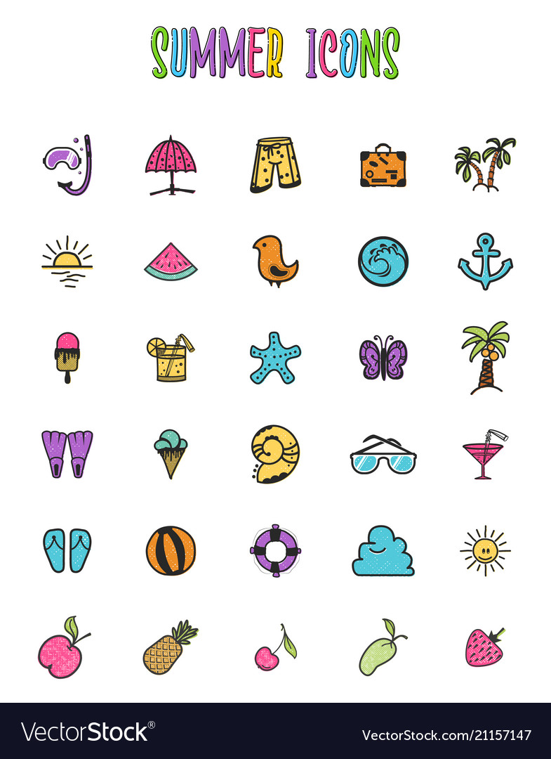 Set of summer colored icons in a cartoon style