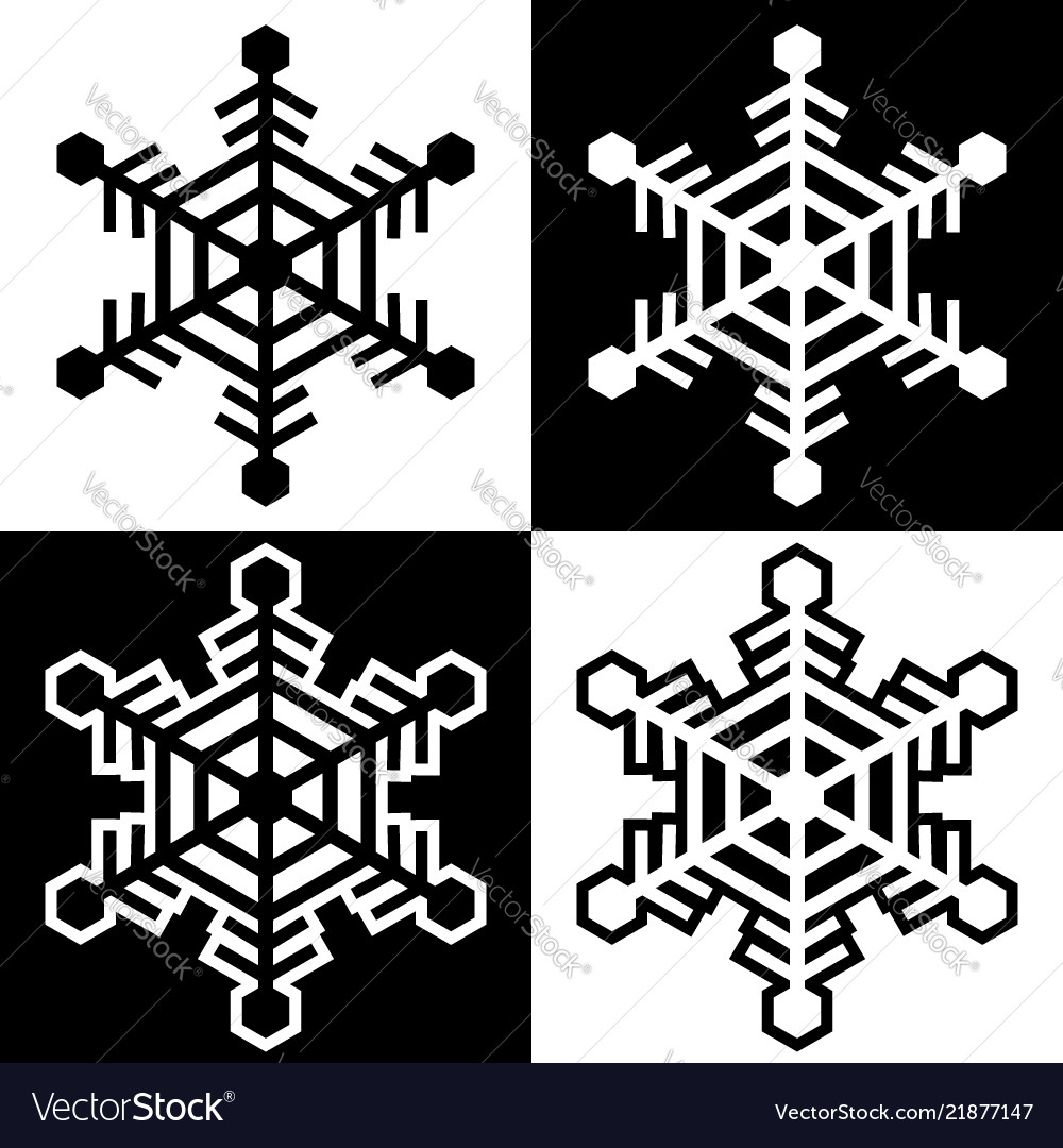Snowflake symbols icons simple black white set 10