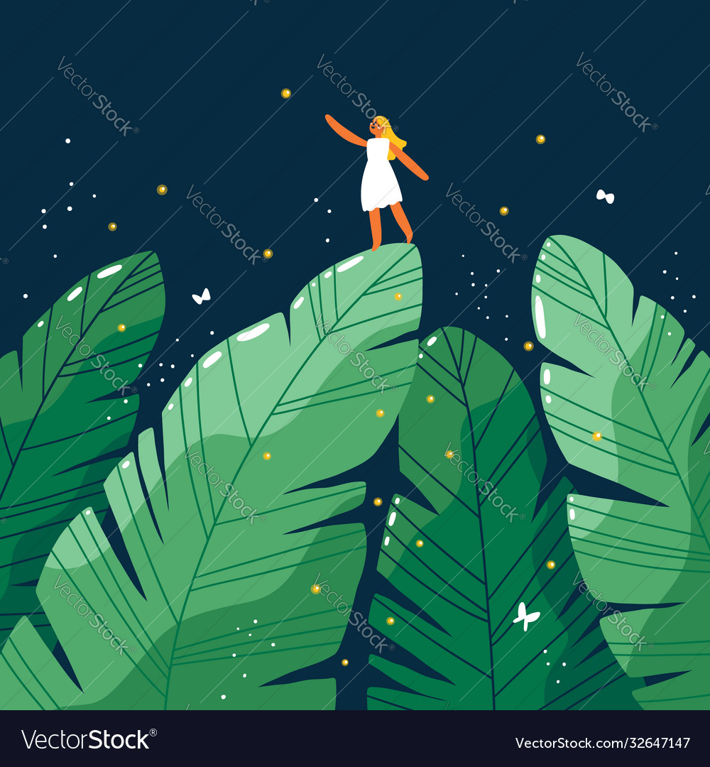 Tiny girl in a jungle forest at night cartoon vector