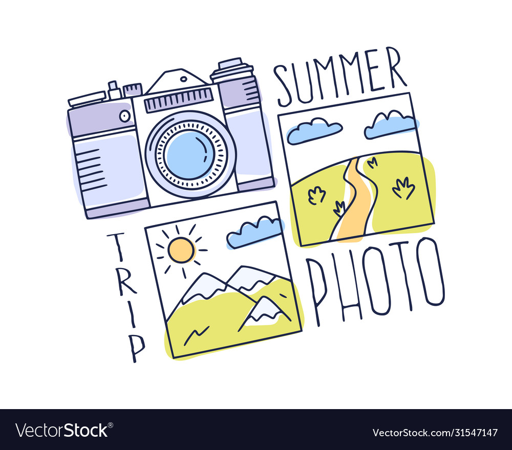 World travel concept doodle photo camera and