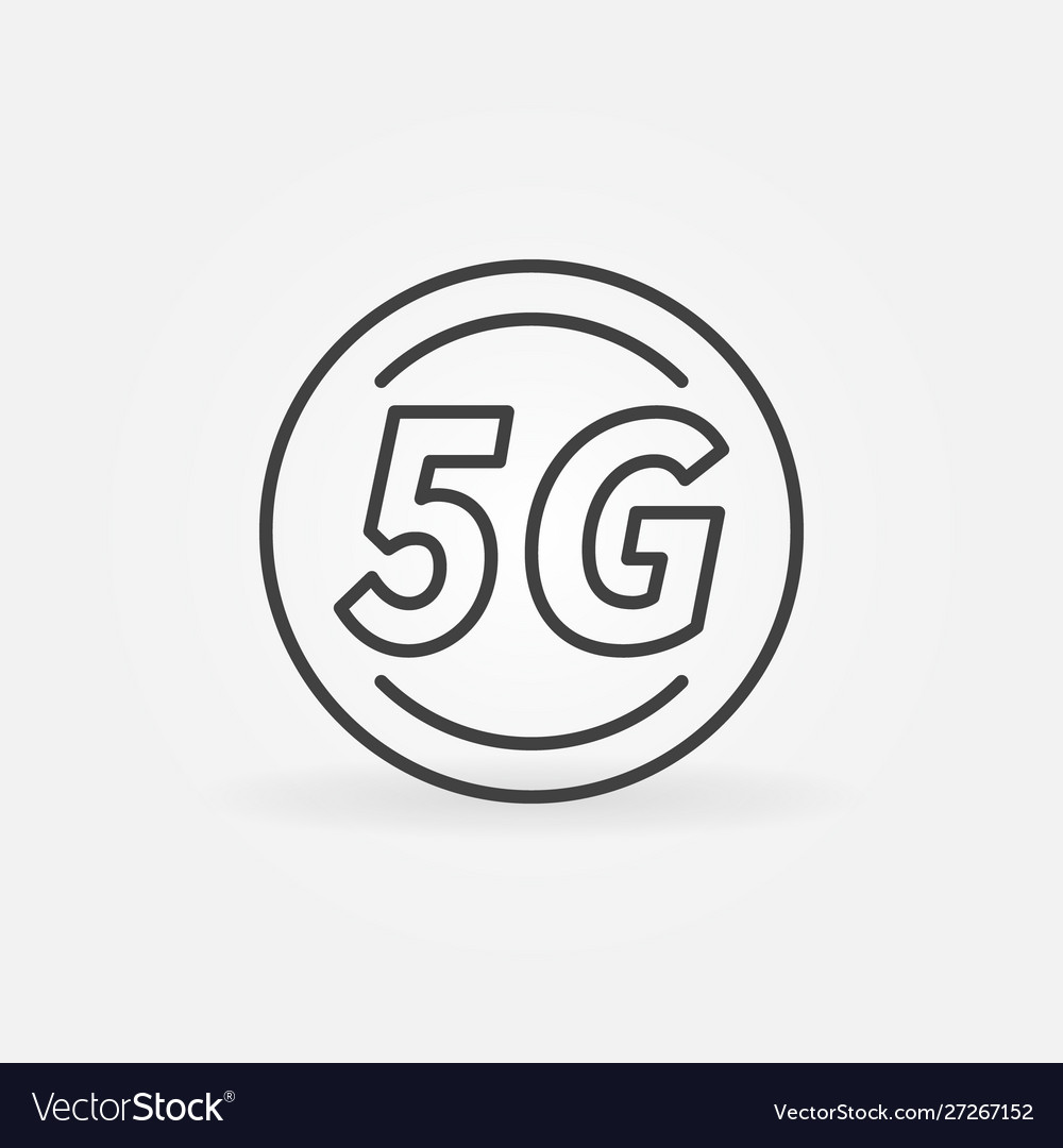 5g circle outline icon - cellular network
