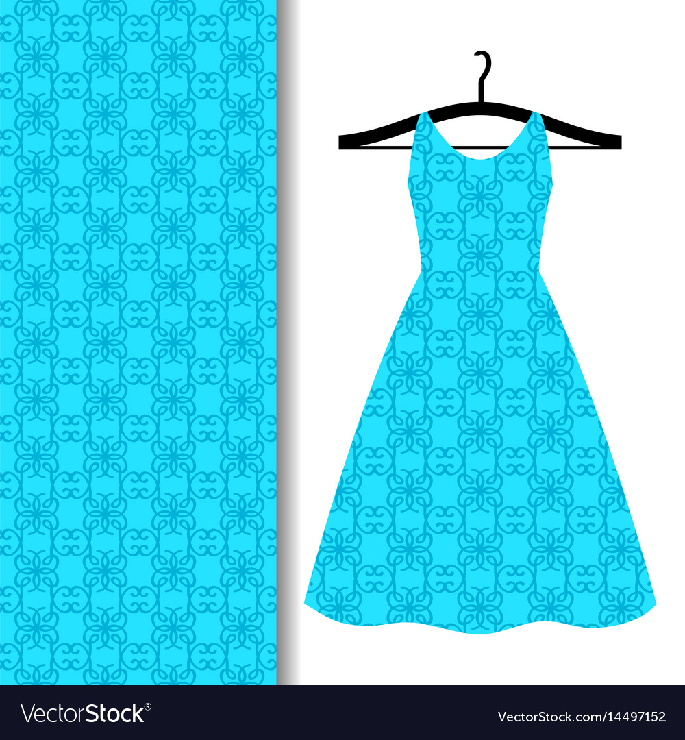 Dress fabric pattern with blue pattern