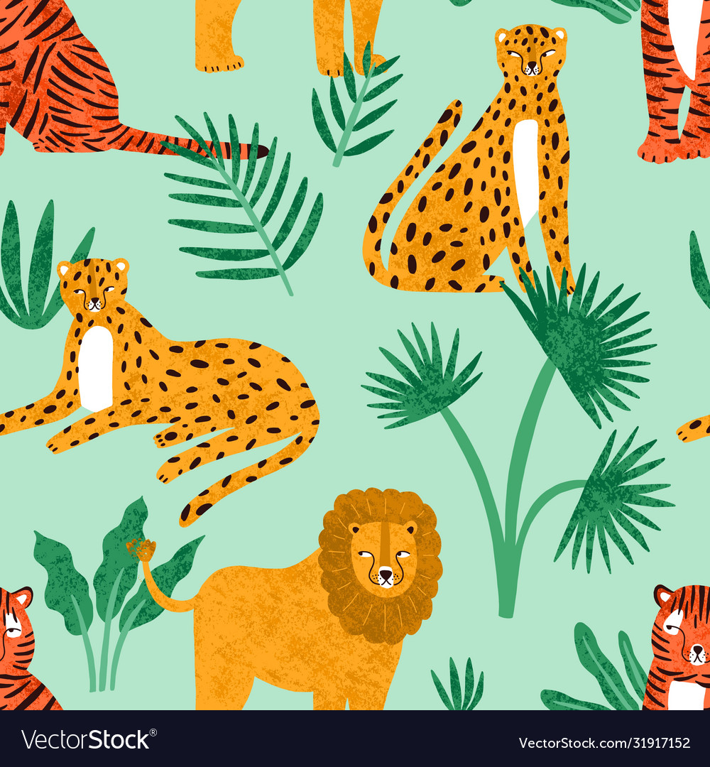 Funny feline with tropical plants seamless pattern
