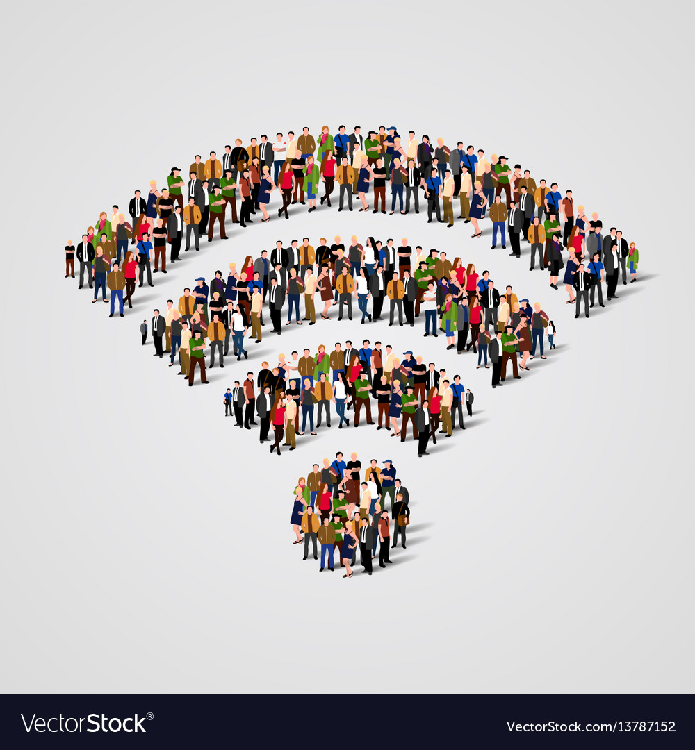 Large group of people in the wi-fi sign shape