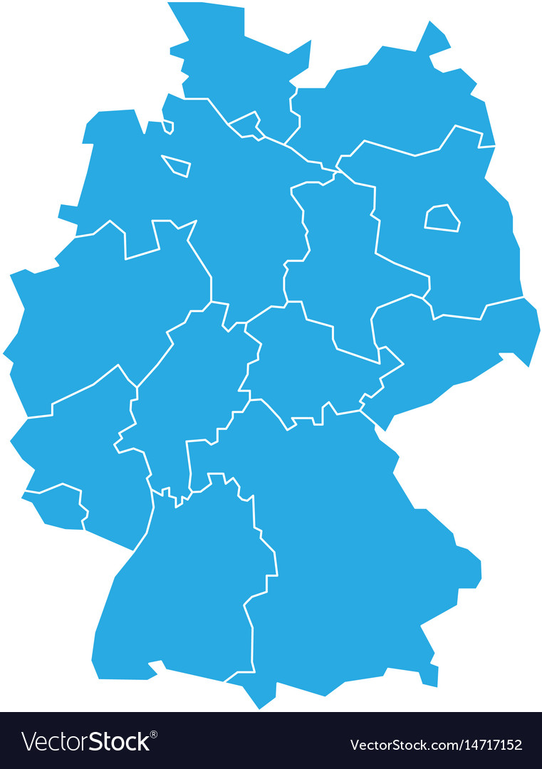 Map of germany devided to 13 federal states and 3
