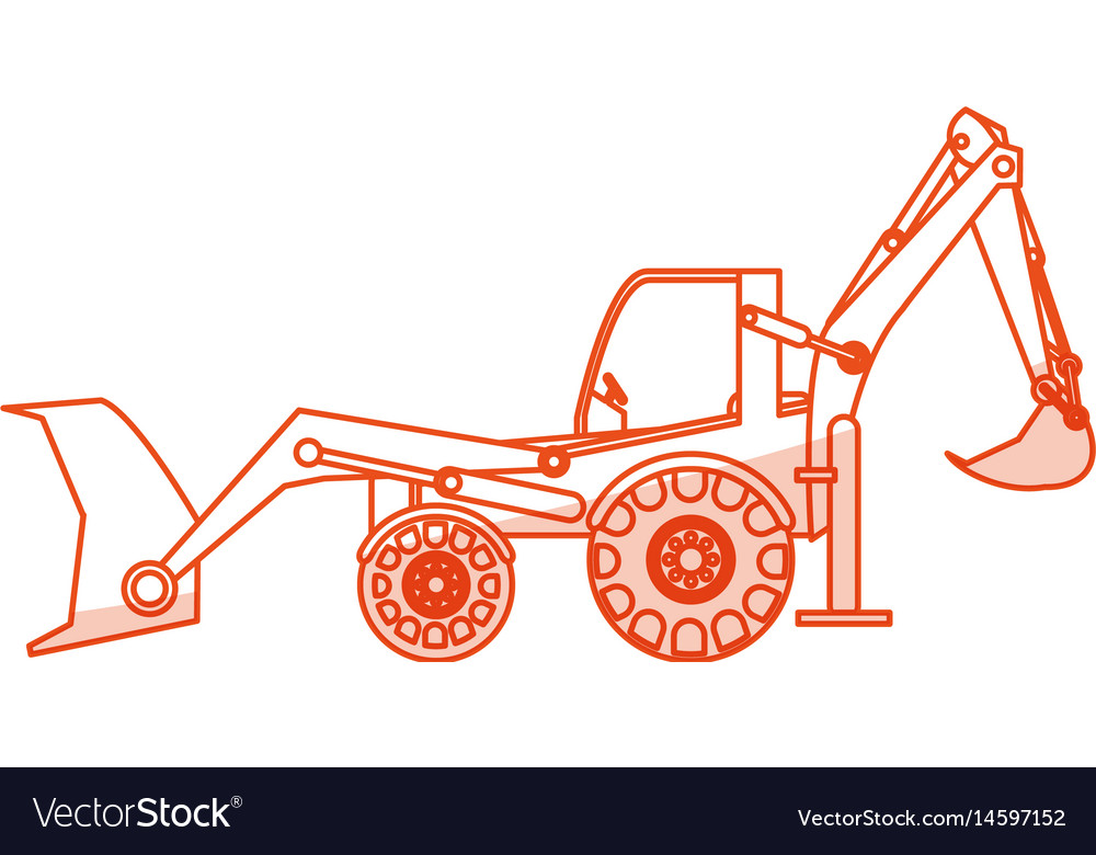 Orange silhouette shading industrial machine vector image
