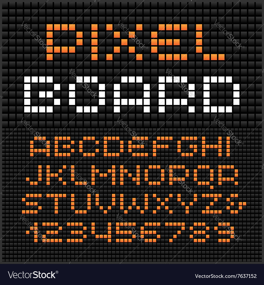 Pixel font alphabet with dots effect letters and