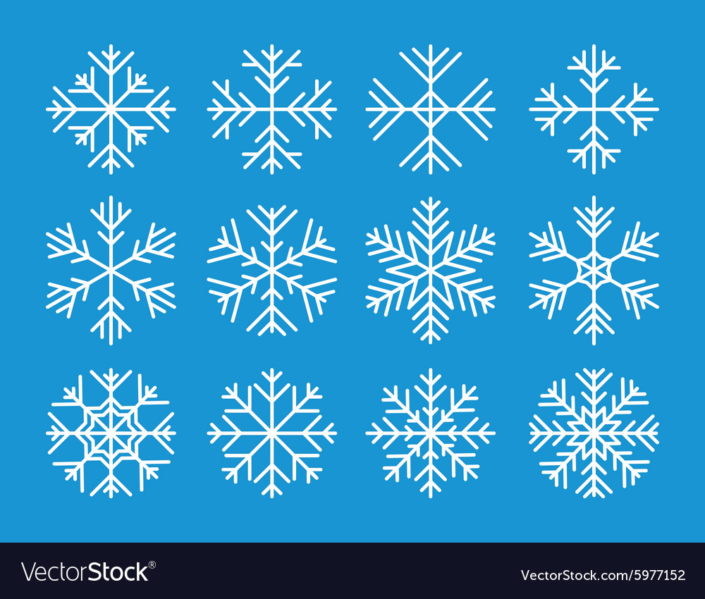 Set of the snowflakes icons