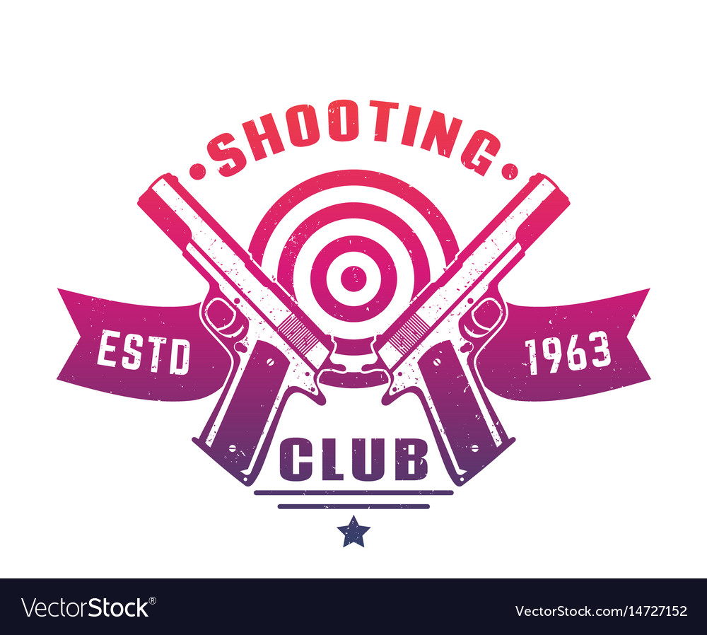 Shooting club logo emblem badge with two pistols