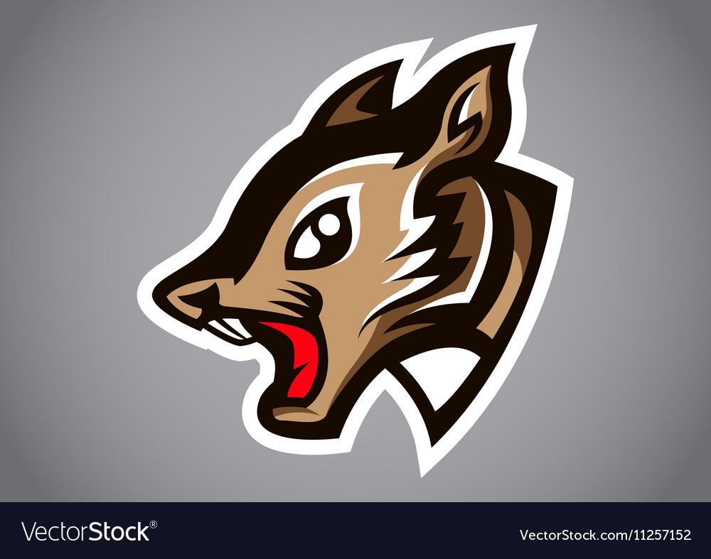 Squirrel head gray shield logo