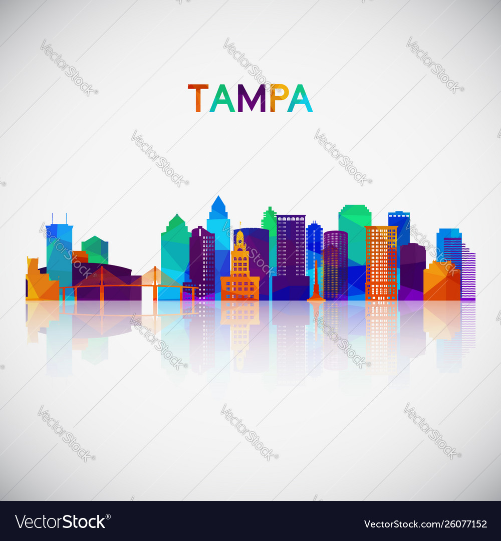 Tampa skyline silhouette in colorful geometric